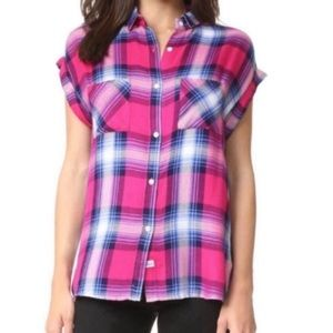 RAILS Britt Rolled Sleeve Plaid Shirt Size S